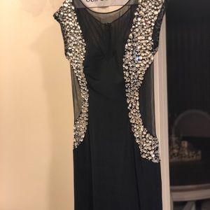 Jovani black stretch sheer & stone gown